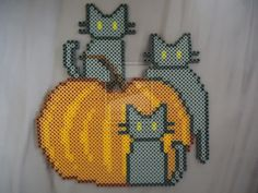 Pumpkin Kitties - Halloween perler beads by PerlerHime on deviantART