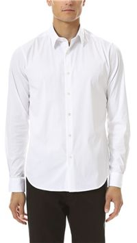 Theory - Slyvain Solid Dress Shirt: When you wear this under a sweater, be sure to keep the foldover collar nice and stiff – you don't want the collar to have a wide spread over the neckline of the sweater.