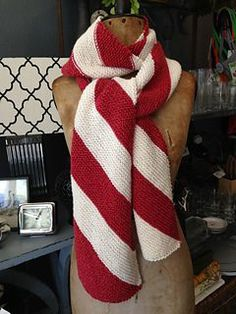 Knit this scarf in candy cane colors for a burst of holiday cheer any time of year! Knit entirely in garter stitch, you'll have it finished in no time.