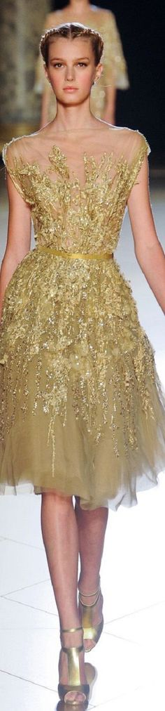 Elie Saab Couture, Gold Sparkle, Glamour, Formal Dresses, Collection, Beautiful, Style, Fashion, Dresses For Formal