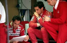 A thoughtful ayrton and teammate gerhard Berger