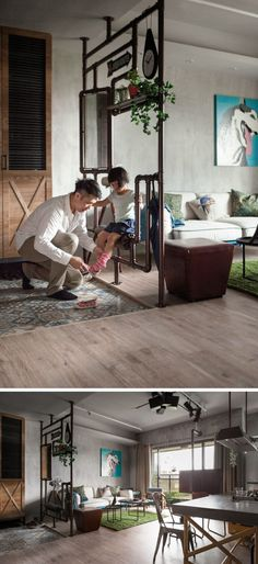 Room Divider Ideas - 10 Examples Of Multi-Functional Room Dividers // Made from pipes, a mirror, a cushion, and a wood shelf, this divider separates the entry way from the living area and provides a convenient spot for putting on shoes, checking your reflection in the mirror, and hanging your umbrella at the end of the day.