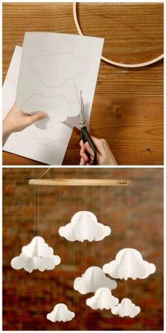 Um móbile lindo para o quarto de bebê: nuvens de papel...