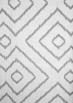 "Baraka Ikat, Grey - $29.95 per yard 54"" wide 100% Linen A pretty, geometric ikat inspired print in soft medium grey on white. Pattern repeat is 9"" vertical by 10.5"" horizontal. Perfect for drapery, roman shades, pillows, cushions, shower curtains and medium weight upholstery. Weighs 10 ounces (300 grams) per linear yard. Dry cleaning only."