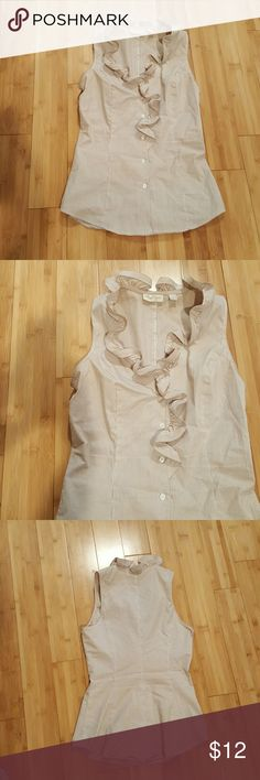 Sleeveless Ruffled Top Sleeveless ruffled button down top with beige pinstripes. Shirt is very fitted at the waist. Size is XSMALL. Pairs great with jeans, a skirt, or trousers. New York & Company Tops