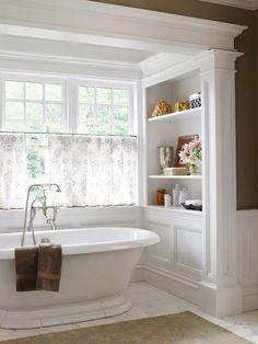 Beautiful Master Bathroom Remodel Ideas stand alone tub, built in shelves Bathroom Windows, Bathroom Renos, Bathroom Storage, Small Bathroom, Bathroom Vintage, Bathroom Renovations, Bathroom Shelves, Bath Window, 1950s Bathroom