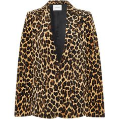 Frame Denim Leopard-Print Velvet Blazer ($595) ❤ liked on Polyvore featuring outerwear, jackets, blazers, animals, velvet jackets, print jacket, one-button blazer, animal print blazer and leopard print jacket