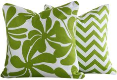 Chartreuse Twirlies Collection - Boutique Square and Lumbar Throw Pillow Covers - Chartreuse and White Flowers with Zip Zag - Green and White Hues - 1 Pillow Cover Lumbar Throw Pillow, Throw Pillow Covers, Green Flowers, White Flowers, Peacock Blue Bedroom, Chartreuse Color, Lilly Pulitzer Fabric, Living Room Inspiration, Design Inspiration