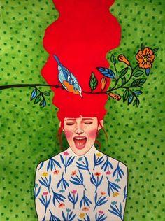 Hülya Özdemir is an artist born in Istanbul, Turkey, who creates beautiful images halfway between art and illustration, with watercolors. Art And Illustration, Portrait Illustration, Art Inspo, Kunst Inspo, Inspiration Art, Portraits Illustrés, L'art Du Portrait, Arte Pop, Canvas Artwork
