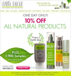 Happy Earth Day!! Take 10% Off our ALL NATURAL Products with code: NATURAL10  #earthday #natural #skincare http://www.sonyadakarskinclinic.com/shop-by-category/all-natural-sonya-dakar-products.html?utm_source=earthdayeblast_medium=email_campaign=eblasts_source=Copy+of+Sonya+Dakar+Skin+Clinic_campaign=83189d6e90-Earth+DAy+2013_medium=email