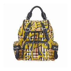 fdee17ef47eb  1281.15 - Burberry Unisex Small Crossbody Rucksack in Graffiti Print  Vintage Check Yellow Made in Italy