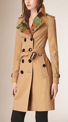 Mel Trench coat de gabardine de algodão floral - Imagem 1