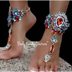 Jeweled Barefoot Sandals with Glamorous Rhinestones. These Boho Foot Bracelets have a Connected Toe Chain Rings. Our Footless Sandals are a Unique Accessory for Weddings with a Beach Or Boho Theme. Ca