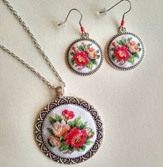 Set of earrings and pendant Embroidered earrings Cross stitch jewelry Hand embroidery Flower jewelry pendant with petit point embroidery Hand Embroidery Flowers, Embroidery Jewelry, Ribbon Embroidery, Cross Stitch Embroidery, Embroidery Patterns, Cross Stitch Patterns, Cross Stitch Bookmarks, Mini Cross Stitch, Cross Stitch Christmas Ornaments