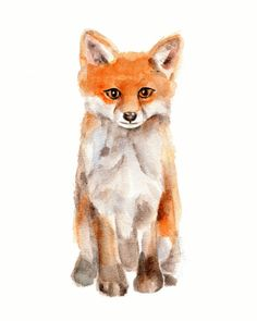 Fox print from original watercolor painting  от Marysflowergarden