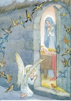 An angel and a flock of birds pray outside for the baby jesus, newly born in a manger. Illustration by Molly Brett. Religious Pictures, Religious Icons, Religious Art, Christmas Scenes, Christmas Nativity, Christmas Angels, Blessed Mother Mary, Blessed Virgin Mary, Mary And Jesus