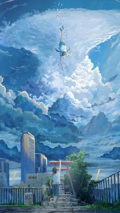 The Wallpaper anime - Tenki no ko (weathering with you) Anime Backgrounds Wallpapers, Anime Scenery Wallpaper, Cute Anime Wallpaper, Animes Wallpapers, Sky Anime, Anime Love, Anime Art, Japanese Animated Movies, Name Wallpaper
