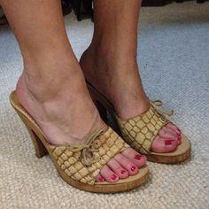 "Carlos Santana Camel Heels. Carlos Santana Camel Heels. Animal Print is a fur/hair. Wood heel. Leather upper. Heel is a little over 4"" tall (REDUCED from $35) Carlos Santana Shoes Heels"