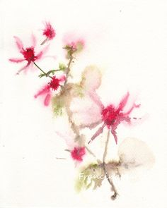 Flower Watercolor painting art blossom branch by FrancinaMaria #FrancinaMaria #etsyfind #chaoscurators