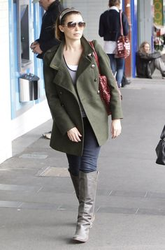 8ec31dbe47f Dannii Minogue wears an olive military inspired pea coat while out and  about in Australia.