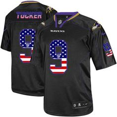 Nike Limited Justin Tucker Black Men's Jersey - Baltimore Ravens #9 NFL USA Flag Fashion