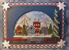 Mountain Town Snow Globe Shaker Card using Tim Holtz and Stampin' Up Products (TH Snowglobe Thinlit dies) - Handmade Christmas / Holiday card