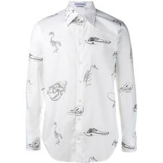 Alexander McQueen Victorian skeleton print shirt ($475) ❤ liked on Polyvore featuring men's fashion, men's clothing, men's shirts, men's casual shirts, white, mens white cotton shirts, mens cutaway collar dress shirts, mens white shirts, mens skeleton shirt and mens button front shirts