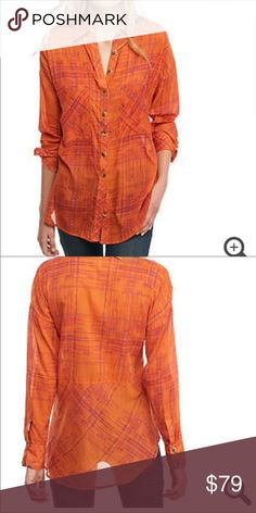 Free People orange flannel button down ⚡️NO trades  ⚡️open to ALL offers!  ⚡️ bundle for MAJOR discounts!  ⚡️feel free to ask any questions ⚡️ I will not respond to offers in the comments, please use the offer button for all offers.  ⚡️Please only ask for model photos if you are very interested!  ⚡️All sales are final and all offers are binding.  ⚡️ If I miss your comment, please comment again! Free People Tops Button Down Shirts