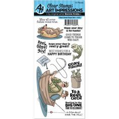 FISHING Reel Great Guy Clear Unmounted Rubber Stamp Set ART IMPRESSIONS 4900 New | eBay