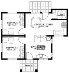 This 2 bedroom small house design is a compact house plan which can be build in a small lot. A meter x meter lot size can accommodate this small house design as a semi-detached construction. It has a floor area of approximately sq. Small House Floor Plans, Simple House Plans, Modern House Plans, Small House Images, Modern Small House Design, Small Houses, House Layout Plans, House Layouts, Architecture Art Nouveau