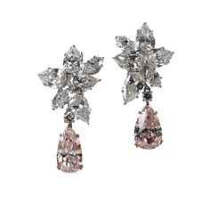 Natural Fancy Pink Diamond and White Diamond Earrings