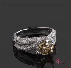 Champagne Round Diamond Engagement Ring 2.51 by USJewelryFactory