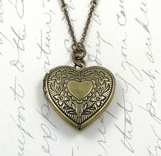 Heart Locket Necklace Engraved #locket #vintage #rhinestone #gift by laurenblythedesigns, $29.00