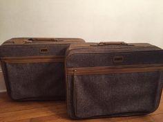 Vintage Amelia Earhart Tweed Luggage/Set of by UpTheAntiqueCo