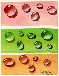 Dew Drop Study by Watercolor Artist Rita Squier 5 x 7 inch Here is my very first set of practice dew drops. A study of dew drops done on p. Watercolor Projects, Acrylic Painting Tutorials, Watercolor Ideas, Middle School Art, Art School, Fall Arts And Crafts, 8th Grade Art, Watercolor Water, Autumn Art