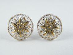 """Czech Unique Glass Earrings Stud Solid 925/1000 Sterling Silver 13mm - 1/2"""" #CzechArt77 #Stud"""