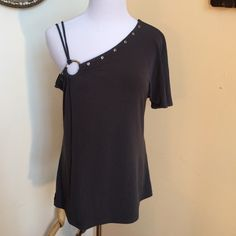 Off Shoulder Gray Top Quality silky wash and wear knit, cute off shoulder design with expensive silver loop and rivet accent unique statement top Haitus Tops Blouses
