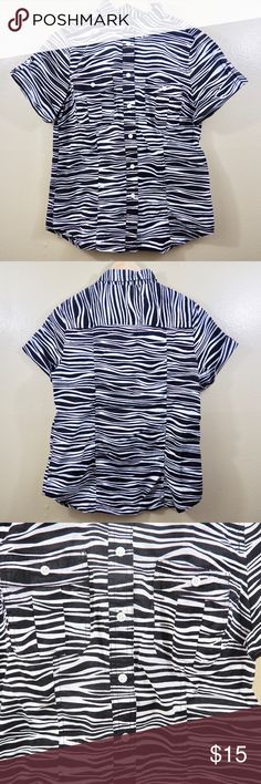 """Michael Kors Zebra Print Camp Shirt/Blouse Pockets Michael Kors Women's size 8 Zebra print Pre-owned Tiny ink bleeding/stain in back (not noticeable unless you inspect closely, please see photos) Loose thread/stitching left armpit (please see photos) Armpit to armpit: 19"""" Collar to hem: 23.5"""" Michael Kors Tops Button Down Shirts"""