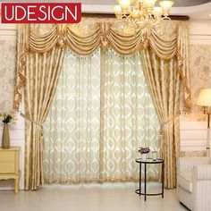1 PC European Gloden Royal Luxury Curtains for Bedroom Window Curtains for Living Room Elegant Blinds Drapes Lace Curtains