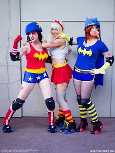Roller Derby Super Ladies  Cosplayers: Wonder Woman: A to Z Cosplay Batgirl: Brittnie Jade Supergirl: Leaping Lizard Cosplay  Series: DC Comics Photographer: Short Fuse Pinups Original Art design: Danielle Gransaull