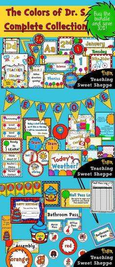 Complete Dr. Seuss Theme for the classroom! Even has a comprehensive teacher organizational binder!
