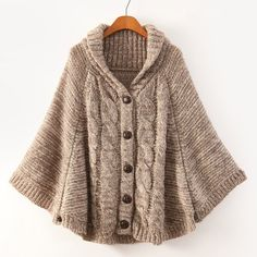 Shawl Collar Cable Knit Solid Color Cloak Cardigan For Women