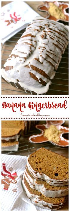 Glazed Banana Gingerbread - banana bread meets gingerbread with a delicious cinnamon glaze!!