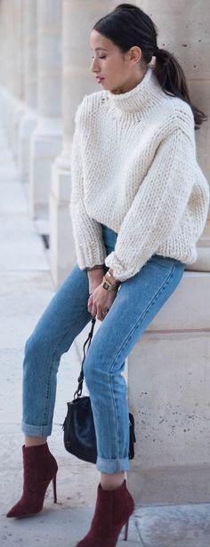 Alex's Closet White Chunky Turtleneck Sweater Fall Street Style Inspo