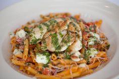 Tomato Basil #Pasta:  Grilled chicken, fresh mozzarella, a touch of garlic and penne pasta. Delish!
