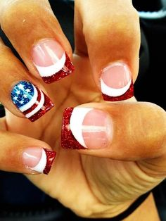 fourth of july stiletto nails