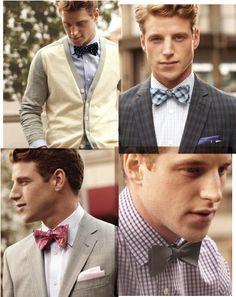 Four ways to wear a bowtie: from blazers to Bermudas to a classic wedding look.