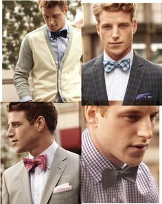 Four ways to wear a bowtie: from blazers to Bermudas to a classic wedding look.