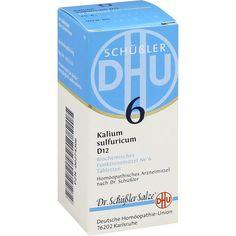 BIOCHEMIE DHU Schüssler Salz 6 Kalium sulfuricum D12 Tabletten:   Packungsinhalt: 80 St Tabletten PZN: 00274306 Hersteller:…