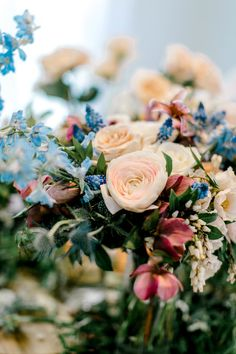 Blush and blue bouquet for the bride or a wedding reception centerpiece - lots of color and greenery! Wedding Reception Centerpieces, Floral Centerpieces, Floral Wedding, Wedding Flowers, Blush Bouquet, Fun At Work, Have Some Fun, Love And Marriage, Fresh Flowers